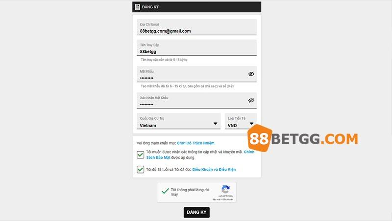 Chọn mục đăng ký tài khoản tại 188BET